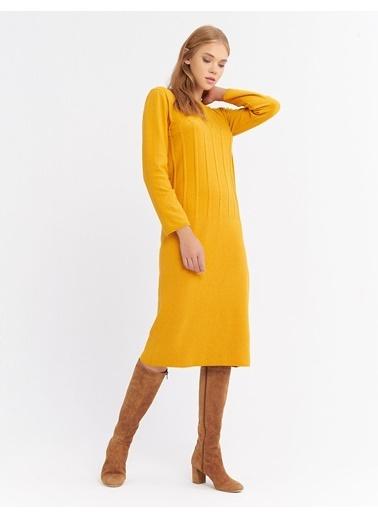 BGN Mimoza - Örgü Detaylı Triko Elbise Renkli